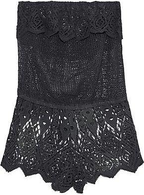 Eberjey Eberjey Woman Sun Warrior Nina Strapless Cotton Guipure Lace Playsuit Charcoal Size M/L