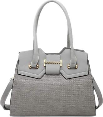 Girly HandBags Girly HandBags Womens Textured Rigid Shoulder Bag - Grey