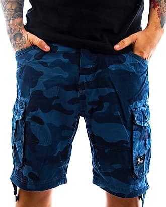 Crosshatch Mens Camo Cargo Shorts Jimster Top New Summer 2019, Blue, Waist 34