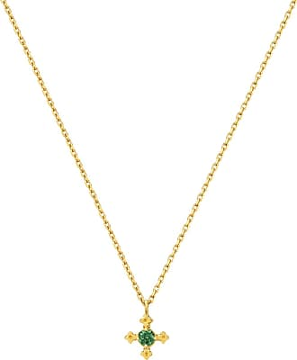 Zoe & Morgan Izil Halskette Chrom Diopsid Gold - one size | gold plated sterling silver | gold | Green Forest - Gold/Gold
