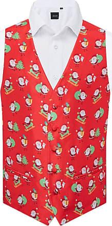 Dobell Mens Red Happy Santa Christmas Waistcoat-4XL (58-60in)