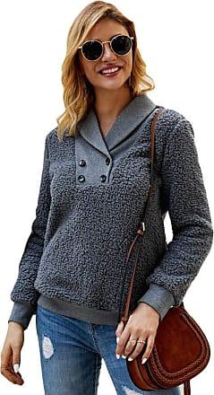 YYW Women Fashion Casual Lapel Fleece Sherpa Pullover Sweatshirt Coat Winter Outwear with Pockets (Dark Grey,S)