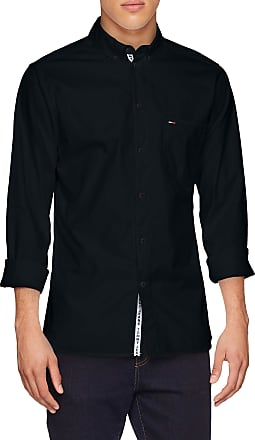 Tommy Jeans Mens Tape Detail Button Down Casual Shirt, Black (Tommy Black 078), Small