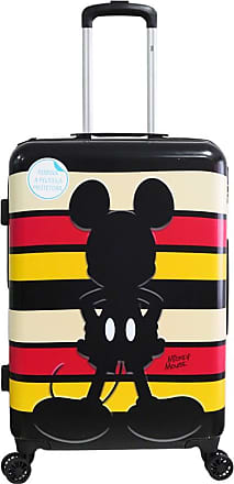 LUXCEL Mala de Viagem Rígida Bordo Pequena 360° Mickey Mouse Disney Listras - Preto