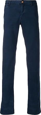 Hand Picked Calça de sarja slim cintura média - Azul