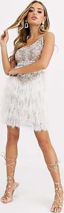 Starlet Vit utsmyckad miniklänning med syntetfjädrar och banddetalj