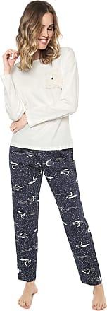Pzama Pijama Pzama Bolso Pelo Off-white/Azul-marinho