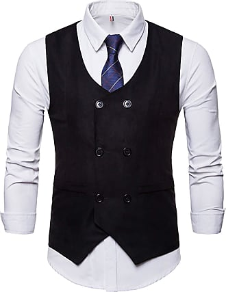 Whatlees Mens Slim Tweed Vest with Double-Breasted Button Front Black 02010003XBlack+XL