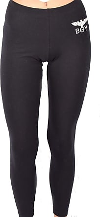 Boy London Leggings Donna Nero bielastico Basic Stampa con Logo BLD2057