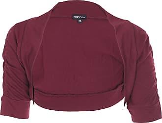 Noroze Girls Kids Plain Ruched Sleeves Bolero Shrug Cardigans (9-10 Years, Wine)