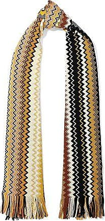 Missoni Missoni Woman Fringe-trimmed Crochet-knit Wool-blend Scarf Yellow Size