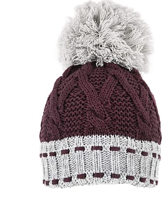 Dents Chunky Cable Knitted Hat Plum & Dove Grey One Size