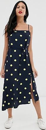 Miss Selfridge strappy midi dress in polka dot-Navy