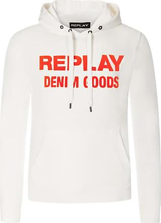 Replay Übergröße : Replay, Sweatshirt mit Kontrast-Logo in Offwhite für Herren