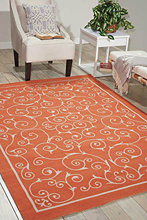 Nourison RS019 Home and Garden Indoor/Outdoor Floral Vibrant Orange Rug (10x13)