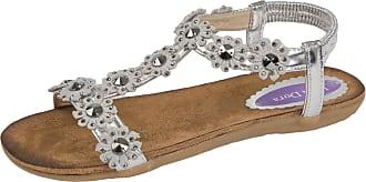 Lora Dora Womens Diamante Flower Sandals Silver UK 5