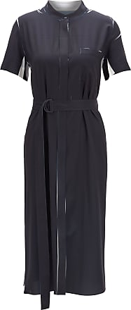 BOSS Fitted shirt dress in fluid fabric with belted waist