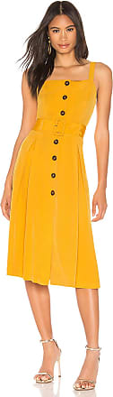 J.O.A. Buttoned Down Belted Dress in Mustard