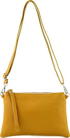 modamoda.de T186 - Italian Clutch/Shoulder Bag Leather Medium, Colour:mustard yellow