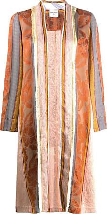 Forte_Forte striped patchwork design coat - Brown