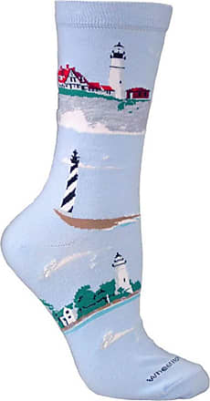 Wheel House Designs Lighthouses Blue Cotton Ladies Socks