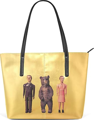 NaiiaN Leather Family Of Three Bear Yellow Cute for Women Girls Ladies Student City Tote Bag Light Weight Strap Handbags Shoulder Bags Purse Shopping