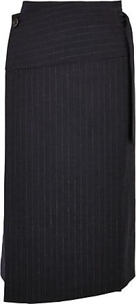 Joseph Aiken Pinstriped Wool Wrap Skirt - Navy