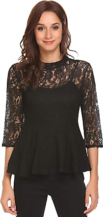 Zeagoo Womens 3/4 Sleeve Sheer Lace Crochet Floral Skater Shirts Blouse Adorable Top for Night Out. Black