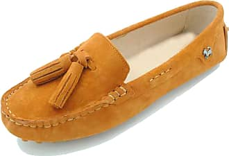 Minitoo Driving Shoes Womens Tassel Orange Suede Leather Loafers Slip-ons Casual Holidays Flats UK 2.5