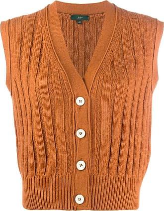 JEJIA sleeveless rib-knit cardigan - Laranja