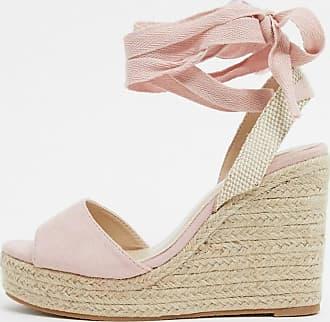 Glamorous Espadrilles con zeppa allacciate alla caviglia rosa cipria