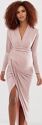 Queen Bee Maternity wrap front maxi dress in pink