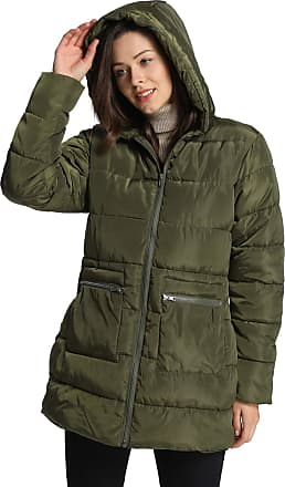 iLoveSIA Womens Hooded Puffer Coat Alternative Quilted Padded Thicken Jacket Olive Green UK 18
