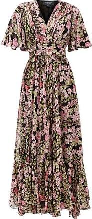 Giambattista Valli Cape-sleeve Floral-print Silk Maxi Dress - Womens - Black Multi