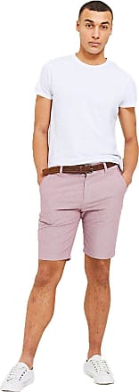 Threadbare Mens Magician Oxford Chino Shorts with Belt - Oxford Pink - 32 Waist