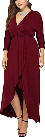 FeelinGirl Womens Maxi Dress Large Size High Waist Belt Evening Gowns Elegant Skirt with Long Sleeves