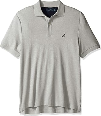 Nautica Mens Classic Fit Short Sleeve Solid Soft Cotton Polo Shirt, Grey Heather, Large
