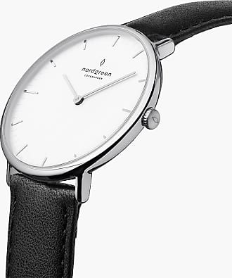 Nordgreen Native | White Dial - Black Leather - 32mm / Rose Gold