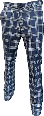 Relco Mens Tartan Sta-Press Trousers Navy Size 34