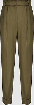 Reiss Brea - Pleat Front Tailored Linen Trousers in Khaki, Womens, Size 14