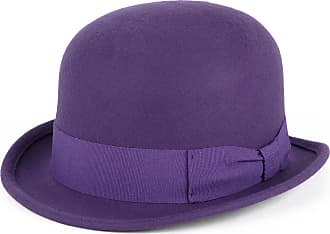 Hat To Socks 100% Wool Bowler Hat with Grosgrain Band Handmade in Italy (purple, S (54/55 cm))