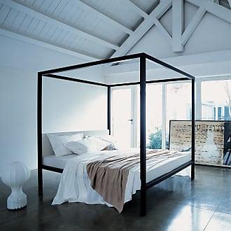 ZANOTTA Design Milleunanotte Four-Poster Bed Wenge-Stained Oak & Pelle Scozia Leather Super King