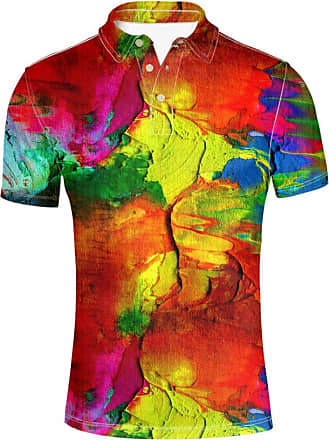 Hugs Idea Fashions Mens Pique Golf Polos Shirt Trippy Colorful T-Shirt Summer Hiphop Short Sleeve Slim Fit Tees