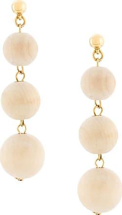 Oscar De La Renta bead drop earrings - NEUTRALS