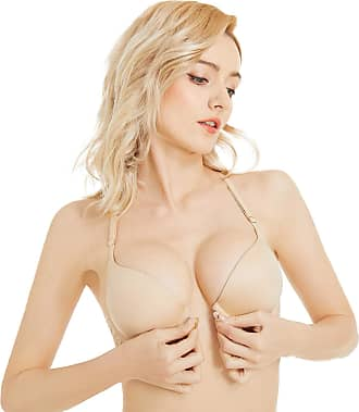 Wingslove Womens Push up Bra Front Closure Racerback Bra Sexy Lace Underwire Bra (Nude,36D)