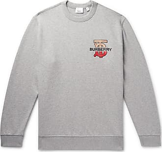 656b7119ccd Burberry Logo-detailed Mélange Loopback Cotton-jersey Sweatshirt - Gray