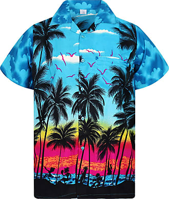 V.H.O. Funky Hawaiian Shirt, Shortsleeve, Beach, Turquoise, M