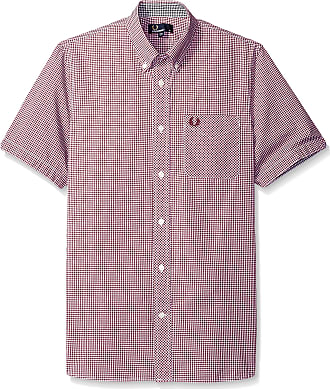 Fred Perry Mens Short Sleeve Gingham Casual Button Down Shirt, Mahogany/Red, S