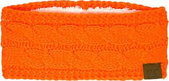 C.C Winter CC Confetti Warm Fuzzy Fleece Lined Thick Knit Headband Headwrap Hat Cap - Orange - One Size