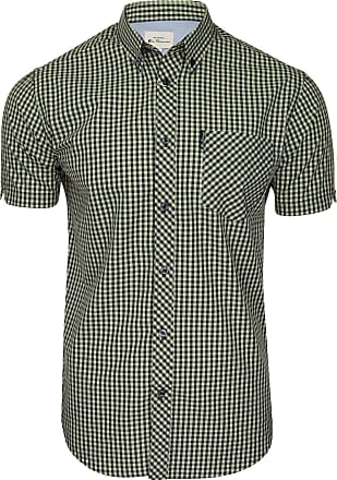 Ben Sherman Mens Signature Gingham Shirt - Short Sleeved (Light Green) XXXL